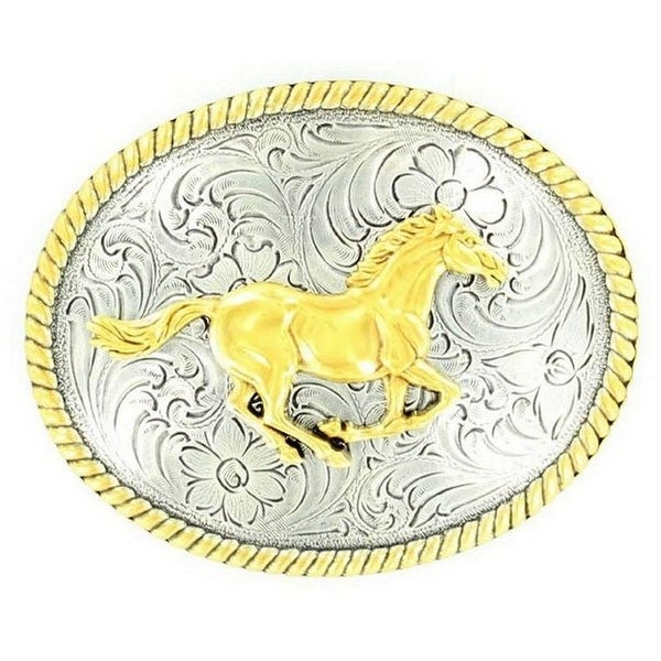 Nocona Western Belt Buckle Womens Running Horse Gold - 3 x 3 3/4