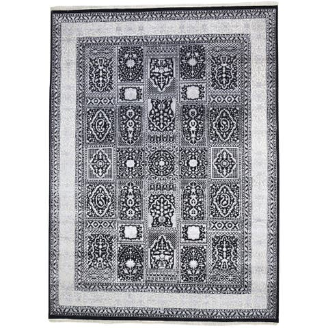 "One of a Kind Hand-Knotted Persian 8' x 10' Oriental Wool Black Rug - 8'0""x10'10"""