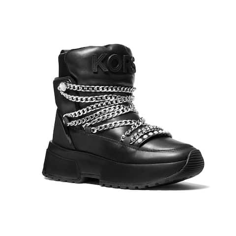 Michael Kors Women's Leather Cassia Chain Booties Black