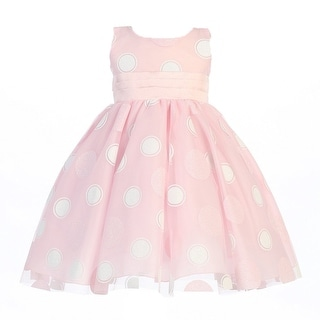 Little Girls Pink Glittered Polka Dot Tulle Easter Dress 2T-6
