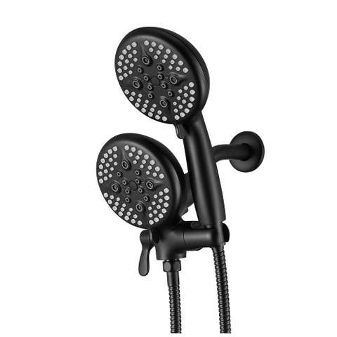 5 in. Dual Shower Head and Handheld Shower Head in Matte Black