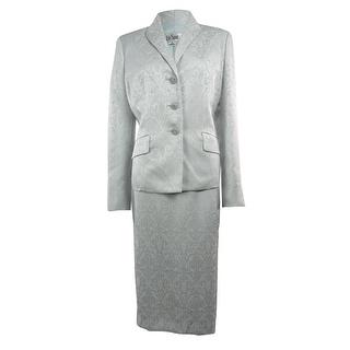 Le Suit Women's Jacquard 3 Button Skirt Suit - 8