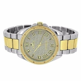 Ice Time Watch 2 Tone Silver & Gold 0.10 CT Genuine Diamonds Roman Numerals Analog Display