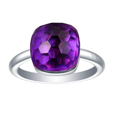 Vedantti Max Honeycomb Cut Purple Amethyst Gemstone Violet Guard Solitaire Ring
