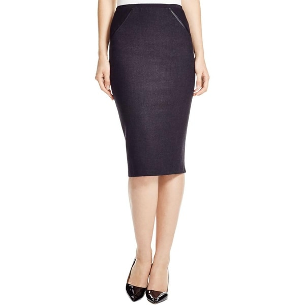 Elie Tahari Womens Harla Pencil Skirt Wool Zipper Detail
