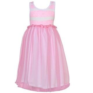Little Girls Pink Stripe Bodice Trimmed Waist Overlaid Dress 4