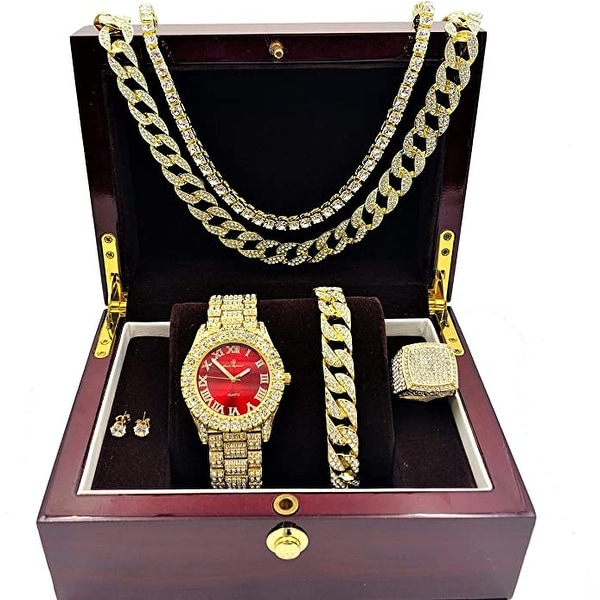 Bloody-Red Dial with Roman Numerals, Cuban Chain Bracelet, Cuban Necklace, Tennis Chain & Ring. Opens flyout.