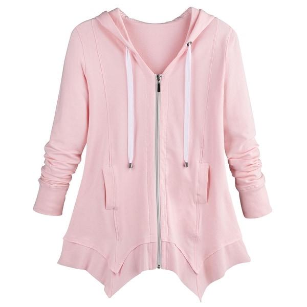 Women Drawstring Tight Waist Long Sleeve Pocket Medium Long Hooded Sweatshirt