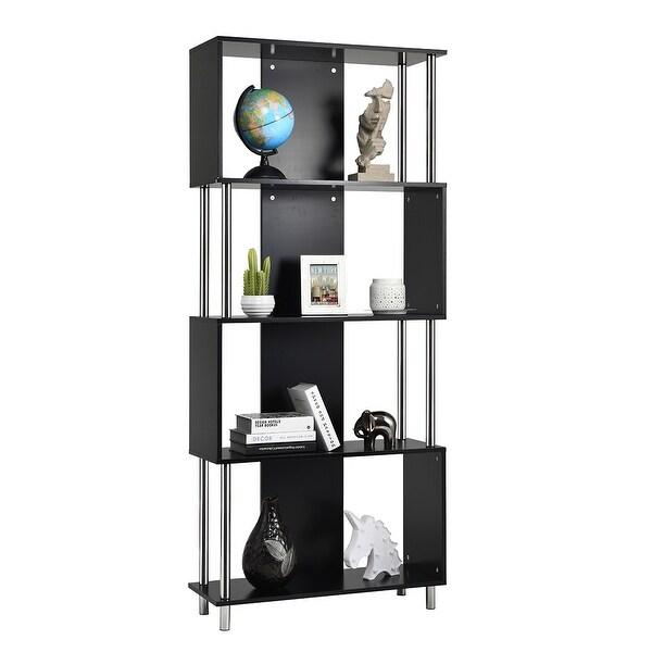 Costway 4-Tier Bookcase Modern Display Shelf Organizer Snaking Storage Rack Black
