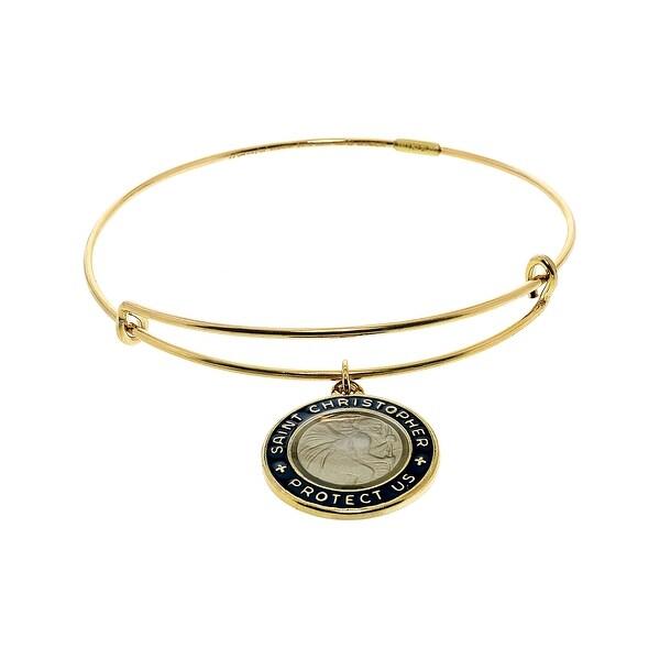 df2db236f48 Shop Alex And Ani Women's Black Enamel St. Christopher Charm Bangle Bracelet  - 7