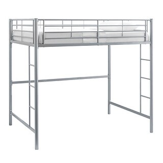 Offex Kids Premium Sturdy Stell Frame Full Size Loft Bed - Silver