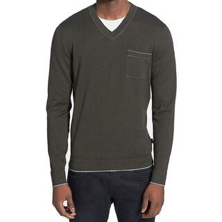 Boss Hugo Boss NEW Green Mens Size XL Slim Fit Cashmere V-Neck Sweater