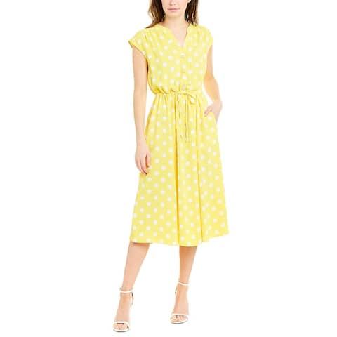 Anne Klein Midi Dress - CITRON/ANNE WHITE
