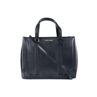 Cavalli Women's Black Leather Satchel Bag - M