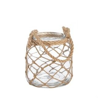 Small Fish Net Wrap Glass Candle Lantern