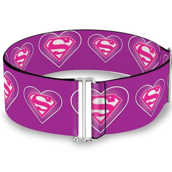Superman Logo In Heart Purple White Pink Cinch Waist Belt ONE SIZE