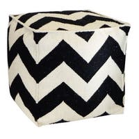 Vivai Home Black Zig Zag Square 22x 22x22 Wool Cotton Ottoman Cushion