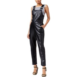 Rachel Rachel Roy Womens Overall Pants Faux Leather Strappy