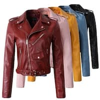 Styledome Women Faux Leather Jackets Motorcycle Outerwear Coat