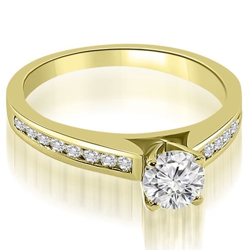 0.82 cttw. 14K Yellow Gold Cathedral Channel Round Cut Diamond Engagement Ring