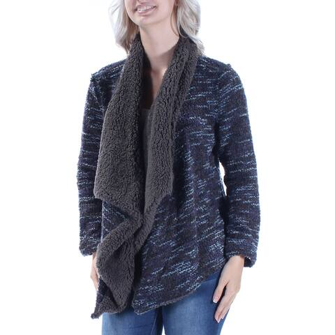 VINTAGE AMERICA BLUES $100 Womens New 1116 Gray Ruffled Faux Fur Sweater XS