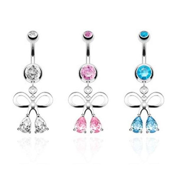 Ribbon With Teardrop Cz Fancy Navel Belly Button Ring 316l Surgical Steel Sold Ind