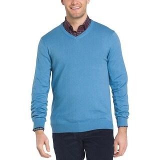 Izod Mens V-Neck Sweater Wool Long Sleeve - S