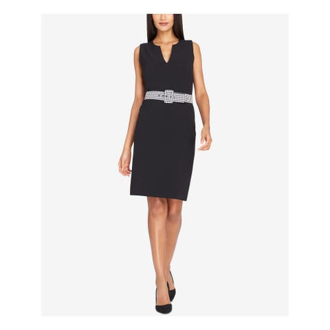 TAHARI Black Sleeveless Knee Length Sheath Dress Size 18