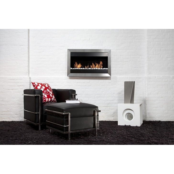 Bio Blaze BB-SQS2 Square Wall Mount Fire Place, Small - Silver - Thumbnail 0