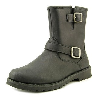 Ugg Australia K Harwell Youth Round Toe Leather Black Ankle Boot
