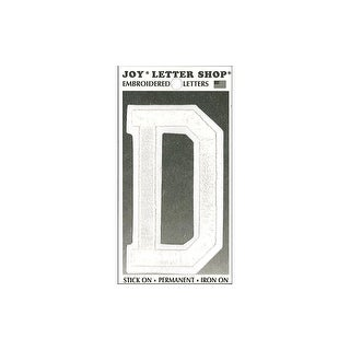 "Joy Applique Letter Iron On Varsity 3"" White D"