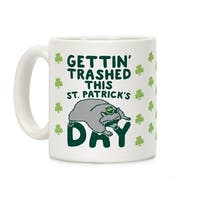 LookHUMAN Gettin' Trashed This St. Patrick's Day White 11 Ounce Ceramic Coffee Mug