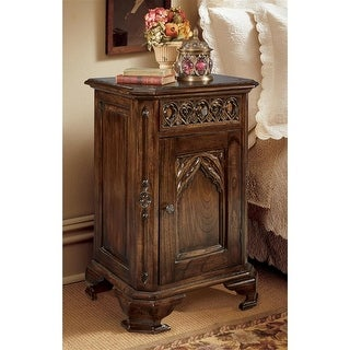 """Design Toscano Queensbury Inn Gothic Revival Bedside Table - 21""""x15.5""""x31"""" 22 lbs"""