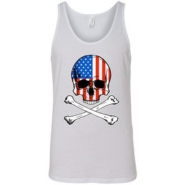 Men's Patriotic Tank Top USA Flag Skull w/ Crossed Bones American Muscle Shirt