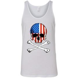 Men's Patriotic Tank Top USA Flag Skull w/ Crossed Bones American Muscle Shirt