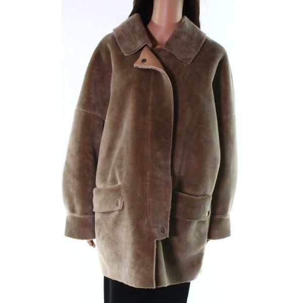 Designer Brand Brown Women's Size Medium M Full Zip Buttons Pockets Coat 105