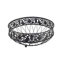 Kitchen Details Country Home Metal Fruit Basket, Black, 11.8x11.8x4.7 Inches
