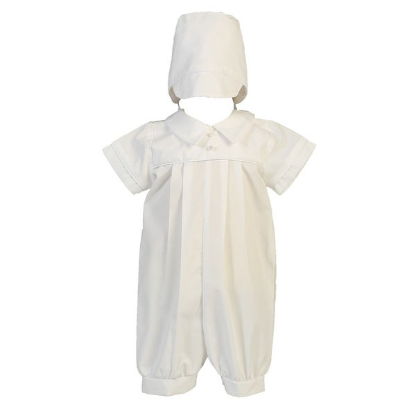 1ac4df6a8 Shop Baby Boys White Cotton Romper Christening Easter Outfit 0-18M - Free  Shipping On Orders Over $45 - Overstock - 23090223