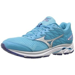 Mizuno Women's Wave Rider 20 Running Shoe, Blue Atoll/Silver, 9.5 B US