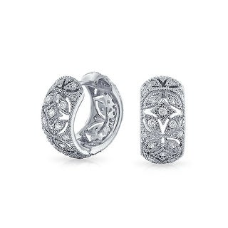 Bling Jewelry Victorian Style Pave CZ Small Hoop Hoop Earrings Rhodium Plated