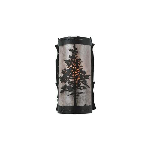 "Meyda Tiffany 99174 Tamarack 4"" Wide ADA Compliant 8 Light Wall Washer with Mica Glass Shade - Black"