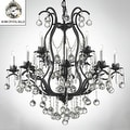 Swarovski Elements Crystal Trimmed Wrought Iron Crystal Chandelier Lighting - Thumbnail 0
