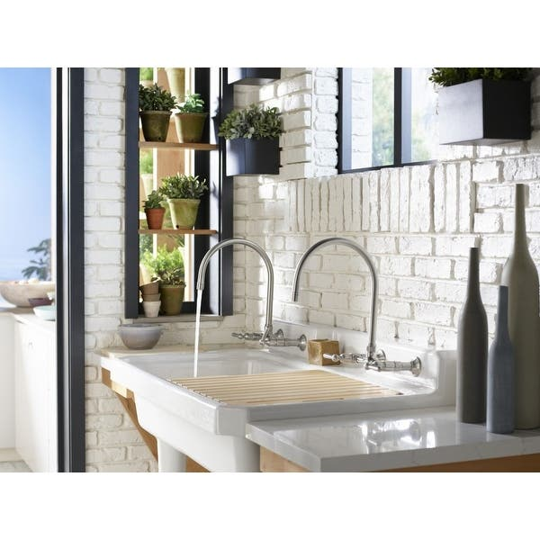 Kohler K-7338-4 HiRise Double Handle Wall Mount Kitchen Faucet
