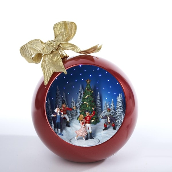 "10"" Animated and Musical Nutcracker Ballet Scene Christmas Ball Decoration"