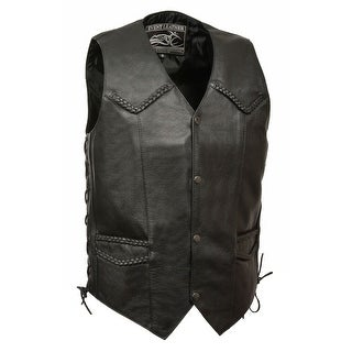 Mens Classic Leather Side Lace Biker Vest with Braiding (More options available)
