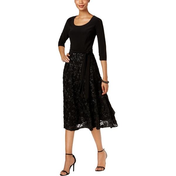 9c67587e0db3ad Shop Alex Evenings Womens Special Occasion Dress Rosette Tea Length ...
