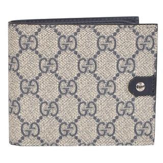 Gucci Men's 365477 Beige Blue Supreme Canvas GG Guccissima Bifold Wallet