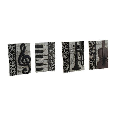 4 Piece Set of Elegant Music Inspired Decorative Wall Plaques - 7 X 5 X 0.38 inches