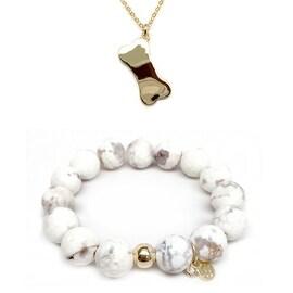 White Agate Bracelet & Dog Bone Gold Charm Necklace Set
