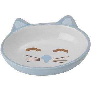 Blue - PetRageous Sleepy Kitty Oval Saucer 5.3oz